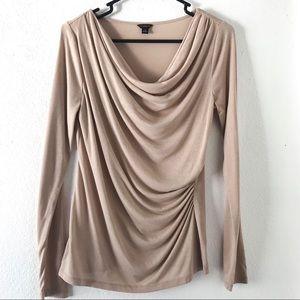 Ann Taylor knit top sand beige tan blouse size M